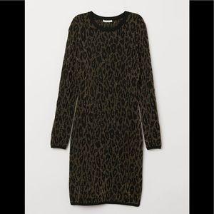 NWT! H & M Black Jacquard Leopard Knit Dress sz L